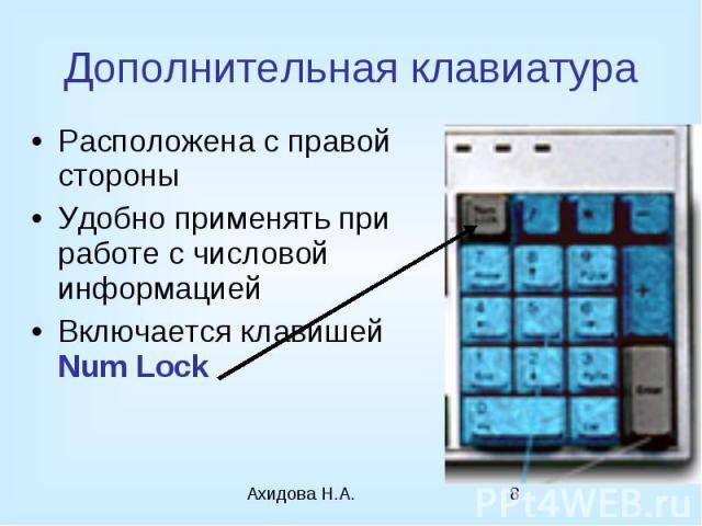Дополнительная клавиатура Расположена с правой стороны Удобно применять при работе с числовой информацией Включается клавишей Num Lock