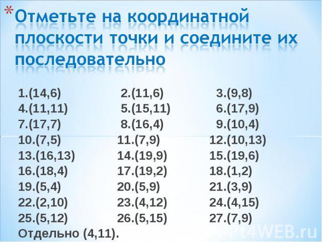 1.(14,6) 2.(11,6) 3.(9,8) 1.(14,6) 2.(11,6) 3.(9,8) 4.(11,11) 5.(15,11) 6.(17,9) 7.(17,7) 8.(16,4) 9.(10,4) 10.(7,5) 11.(7,9) 12.(10,13) 13.(16,13) 14.(19,9) 15.(19,6) 16.(18,4) 17.(19,2) 18.(1,2) 19.(5,4) 20.(5,9) 21.(3,9) 22.(2,10) 23.(4,12) 24.(4…