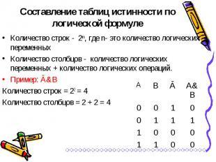 Количество строк - 2ⁿ, где n- это количество логических переменных Количество ст