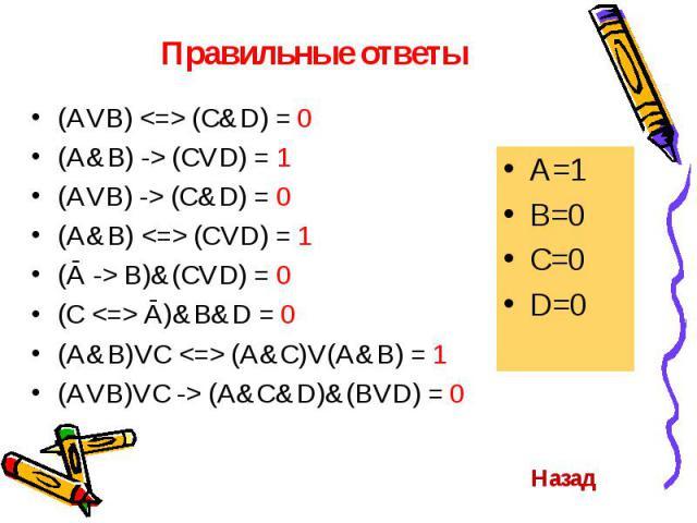 (AVB) <=> (C&D) = 0 (AVB) <=> (C&D) = 0 (A&B) -> (CVD) = 1 (AVB) -> (C&D) = 0 (A&B) <=> (CVD) = 1 (Ā -> B)&(CVD) = 0 (C <=> Ā)&B&D = 0 (A&B)VC <=> (A&C)V(A&B) = 1 (AV…
