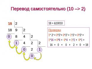 Перевод самостоятельно (10 –> 2)