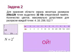 Задача 2 Для хранения области экрана монитора размером 256х128 точек выделено 32