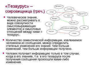«Тезаурус» – сокровищница (греч.) Человеческое знание, можно рассматривать в вид