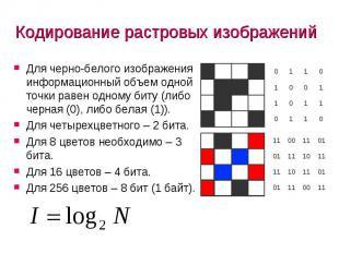 Кодирование растровых изображений Для черно-белого изображения информационный об
