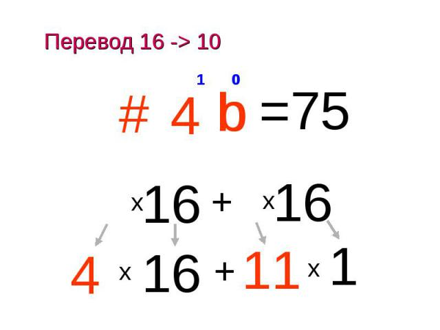 Перевод 16 -> 10