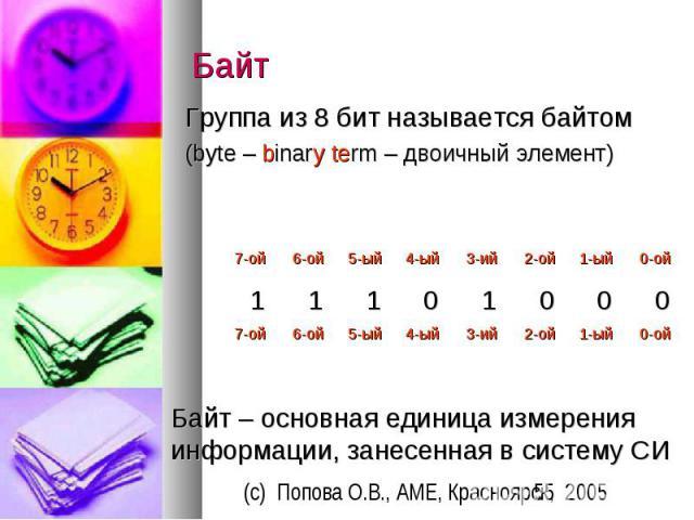 Байт Группа из 8 бит называется байтом (byte – binary term – двоичный элемент)