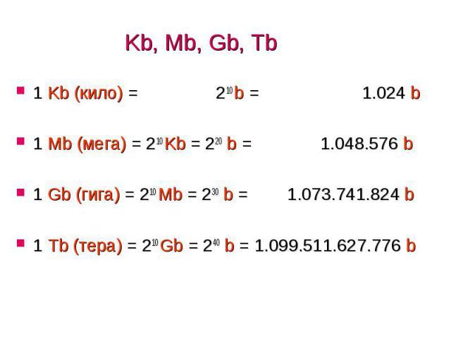 Kb, Mb, Gb, Tb 1 Kb (кило) = 210 b = 1.024 b 1 Mb (мега) = 210 Kb = 220 b = 1.048.576 b 1 Gb (гига) = 210 Mb = 230 b = 1.073.741.824 b 1 Tb (тера) = 210 Gb = 240 b = 1.099.511.627.776 b