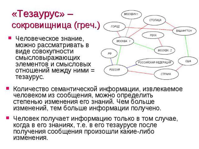 «Тезаурус» – сокровищница (греч.) Человеческое знание, можно рассматривать в виде совокупности смысловыражающих элементов и смысловых отношений между ними = тезаурус.