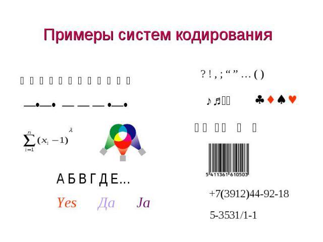 Примеры систем кодирования