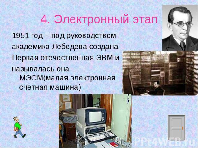 1951 год – под руководством 1951 год – под руководством академика Лебедева создана Первая отечественная ЭВМ и называлась она МЭСМ(малая электронная счетная машина)