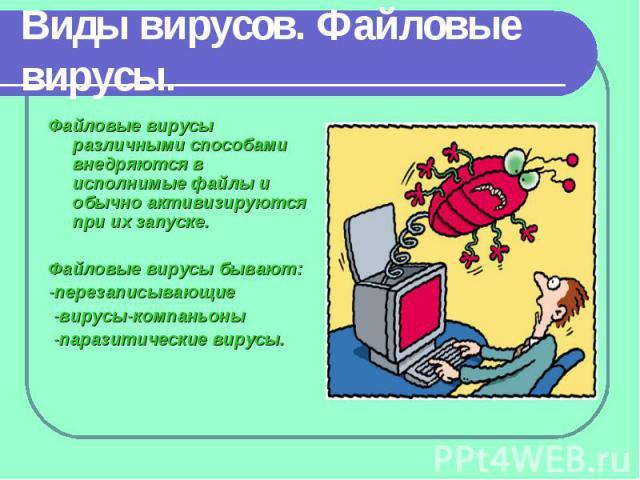 Файловые вирусы различными способами внедряются в исполнимые файлы и обычно активизируются при их запуске. Файловые вирусы различными способами внедряются в исполнимые файлы и обычно активизируются при их запуске. Файловые вирусы бывают: -перезаписы…
