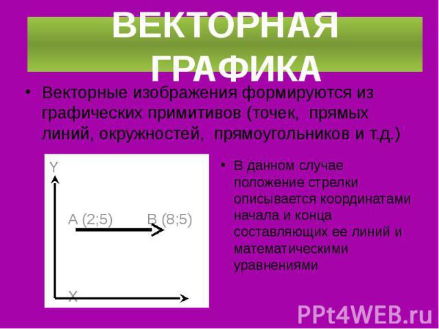 Векторные изображения формируются из графических примитивов (точек, прямых линий, окружностей, прямоугольников и т.д.) Векторные изображения формируются из графических примитивов (точек, прямых линий, окружностей, прямоугольников и т.д.)