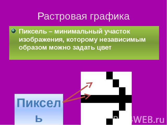 Растровая графика Пиксель – минимальный участок изображения, которому независимым образом можно задать цвет