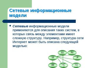 Сетевые информационные модели применяются для описания таких систем, в которых с