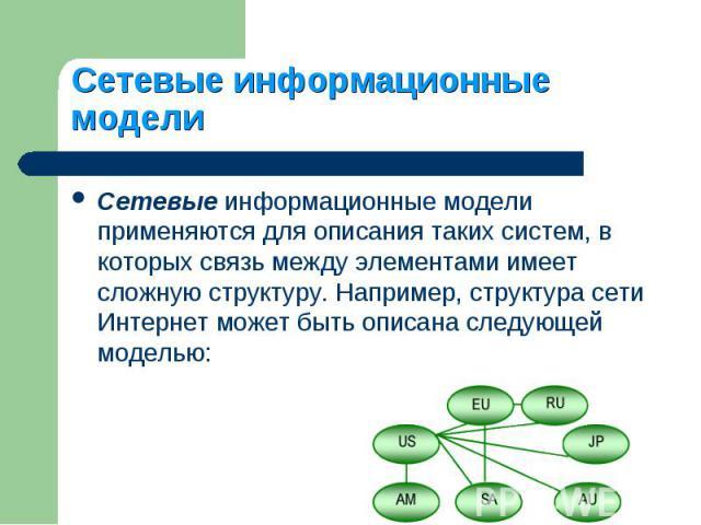 Сетевые информационные модели применяются для описания таких систем, в которых связь между элементами имеет сложную структуру. Например, структура сети Интернет может быть описана следующей моделью: Сетевые информационные модели применяются для опис…