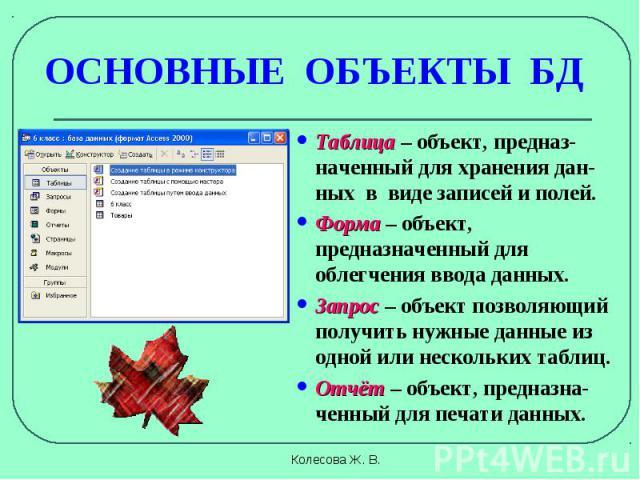 Таблица – объект, предназ-наченный для хранения дан-ных в виде записей и полей. Таблица – объект, предназ-наченный для хранения дан-ных в виде записей и полей. Форма – объект, предназначенный для облегчения ввода данных. Запрос – объект позволяющий …