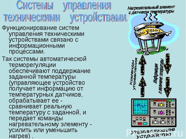 Функционирование систем управления техническими устройствами связано с информационными процессами. Функционирование систем управления техническими устройствами связано с информационными процессами. Так системы автоматической терморегуляции обеспечив…