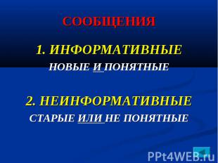 СООБЩЕНИЯ 1. ИНФОРМАТИВНЫЕ НОВЫЕ И ПОНЯТНЫЕ 2. НЕИНФОРМАТИВНЫЕ СТАРЫЕ ИЛИ НЕ ПОН