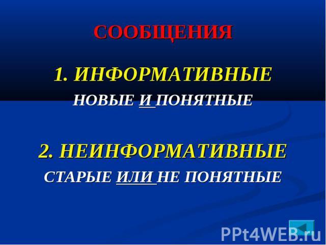 СООБЩЕНИЯ 1. ИНФОРМАТИВНЫЕ НОВЫЕ И ПОНЯТНЫЕ 2. НЕИНФОРМАТИВНЫЕ СТАРЫЕ ИЛИ НЕ ПОНЯТНЫЕ