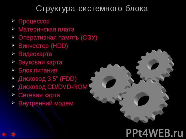 """Процессор Процессор Материнская плата Оперативная память (ОЗУ) Винчестер (HDD) Видеокарта Звуковая карта Блок питания Дисковод 3,5"""" (FDD) Дисковод CD/DVD-ROM Сетевая карта Внутренний модем"""
