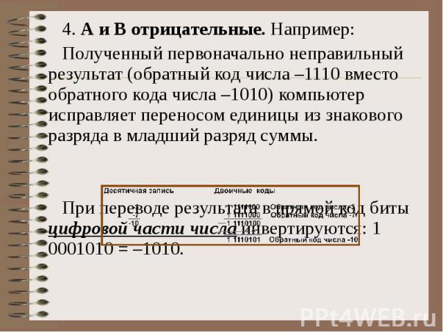 4. А и В отрицательные. Например: Полученный первоначально неправильный результат (обратный код числа –1110 вместо обратного кода числа –1010) компьютер исправляет переносом единицы из знакового разряда в младший разряд суммы. При переводе результат…