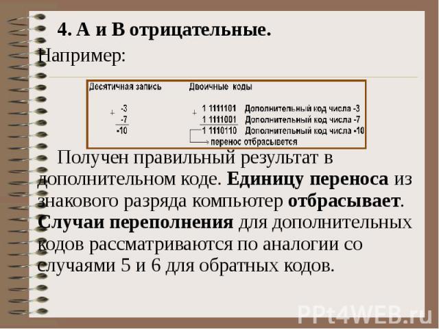 4. А и В отрицательные. Например: Получен правильный результат в дополнительном коде. Единицу переноса из знакового разряда компьютер отбрасывает. Случаи переполнения для дополнительных кодов рассматриваются по аналогии со случаями 5 и 6 для обратны…