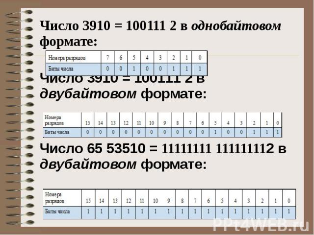 Число 3910 = 100111 2 в однобайтовом формате: Число 3910 = 100111 2 в двубайтовом формате: Число 65 53510 = 11111111 111111112 в двубайтовом формате: