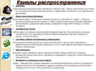 Дискеты Дискеты Самый распространённый канал заражения в 1980-90 годы. Сейчас пр