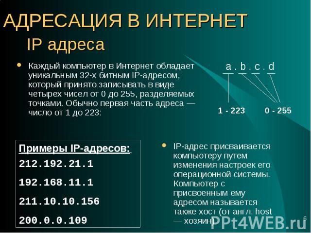 IP-адрес присваивается компьютеру путем изменения настроек его операционной системы. Компьютер с присвоенным ему адресом называется также хост (от англ. host — хозяин) IP-адрес присваивается компьютеру путем изменения настроек его операционной систе…