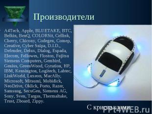 A4Tech, Apple, BLUETAKE, BTC, Belkin, BenQ, COLORSit, Cellink, Cherry, Chicony,