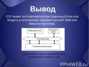 Вывод ОЗУ может изготавливаться как отдельный блок или входить в конструкцию одн