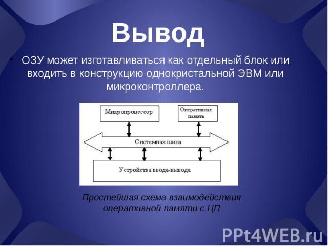 Вывод ОЗУ может изготавливаться как отдельный блок или входить в конструкцию однокристальной ЭВМ или микроконтроллера.