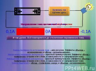 Смена полярности источников тока – два рисунка. Эффекты «Выход – исчезновение» и