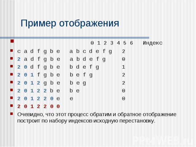 0 1 2 3 4 5 6 Индекс 0 1 2 3 4 5 6 Индекс c a d f g b e a b c d e f g 2 2 a d f g b e a b d e f g 0 2 0 d f g b e b d e f g 1 2 0 1 f g b e b e f g 2 2 0 1 2 g b e b e g 2 2 0 1 2 2 b e b e 0 2 0 1 2 2 0 e e 0 2 0 1 2 2 0 0 Очевидно, что этот процес…