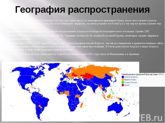 География распространения В России с января 2009 по конец сентября того же года первое место по популярности удерживает Opera, после чего случается резкое падение, в начале декабря Opera ненадолго восстанавливает лидерство, но затем уступает его Fir…