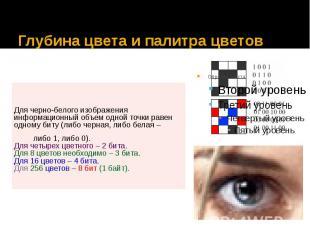 Глубина цвета и палитра цветов Для черно-белого изображения информационный объем