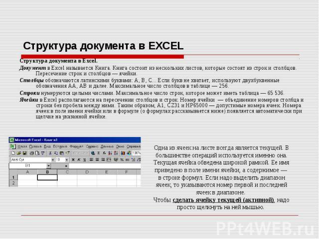 Структура документа в Excel. Структура документа в Excel. Документ в Excel называется Книга. Книга состоит из нескольких листов, которые состоят из строк и столбцов. Пересечение строк и столбцов — ячейки. Столбцы обозначаются латинскими буквами: А, …