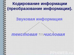 Кодирование информации (преобразование информации). Звуковая информация текстова