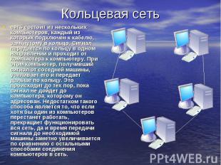 Кольцевая сеть сеть состоит из нескольких компьютеров, каждый из которых подключ