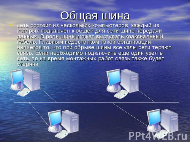 Общая шина сеть состоит из нескольких компьютеров, каждый из которых подключен к общей для сети шине передачи данных. В роли шины может выступать коаксиальный кабель. Главным недостатком такой организации является то, что при обрыве шины все узлы се…