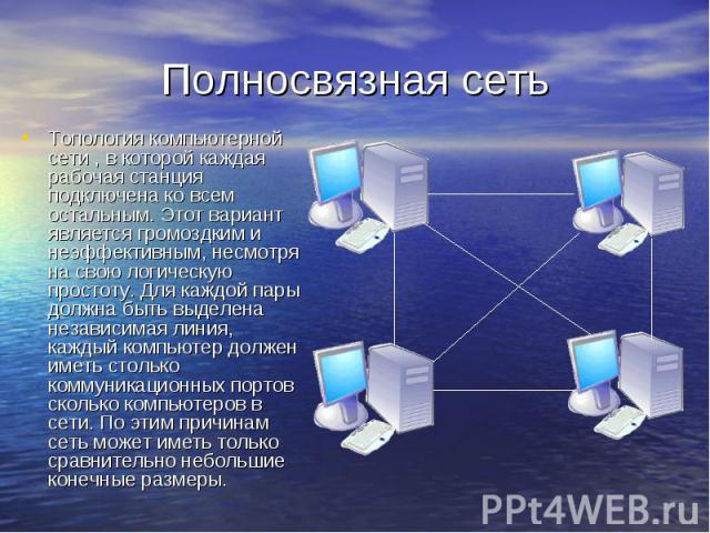 Полносвязная сеть Топология компьютерной сети , в которой каждая рабочая станция подключена ко всем остальным. Этот вариант является громоздким и неэффективным, несмотря на свою логическую простоту. Для каждой пары должна быть выделена независимая л…