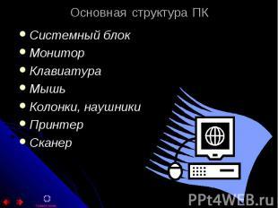 Основная структура ПК Системный блок Монитор Клавиатура Мышь Колонки, наушники П