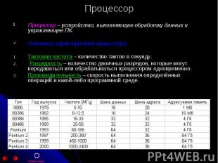 Процессор Процессор – устройство, выполняющее обработку данных и управляющее ПК.
