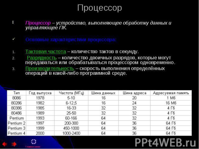 Процессор Процессор – устройство, выполняющее обработку данных и управляющее ПК. Основные характеристики процессора: Тактовая частота – количество тактов в секунду. Разрядность – количество двоичных разрядов, которые могут передаваться или обрабатыв…