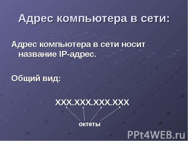 Адрес компьютера в сети: Адрес компьютера в сети носит название IP-адрес. Общий вид: ХХХ.ХХХ.ХХХ.ХХХ