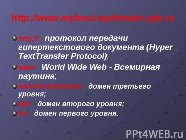http://www.myhost.mydomain.spb.ru http:// - протокол передачи гипертекстового документа (Hyper TextTransfer Protocol); www - World Wide Web - Всемирная паутина; myhost.mydomain - домен третьего уровня; spb - домен второго уровня; Ru - домен первого …