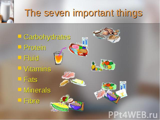 Carbohydrates Carbohydrates Protein Fluid Vitamins Fats Minerals Fibre