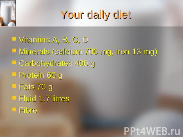 Vitamins A, B, C, D Vitamins A, B, C, D Minerals (calcium 700 mg, iron 13 mg) Carbohydrates 400 g Protein 60 g Fats 70 g Fluid 1.7 litres Fibre