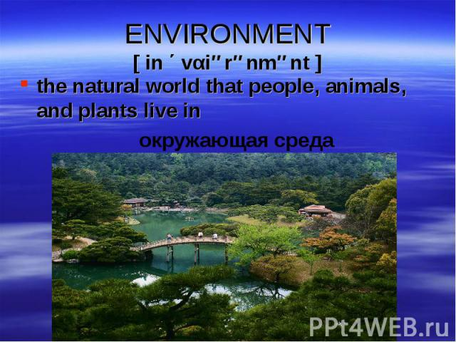 the natural world that people, animals, and plants live in the natural world that people, animals, and plants live in