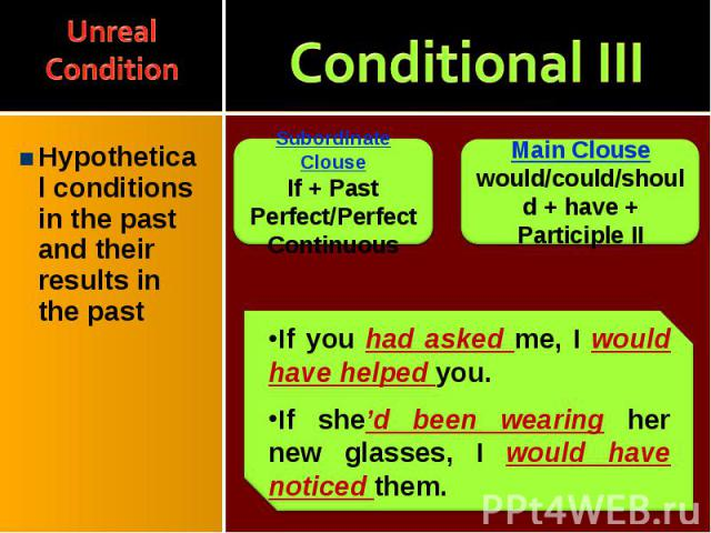 Hypothetical conditions in the past and their results in the past Hypothetical conditions in the past and their results in the past